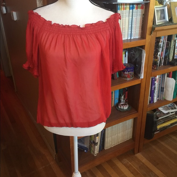 East 5th Tops - Sheer off the shoulder Blouse